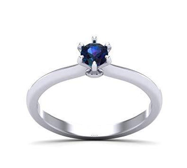 Solitaire Blue Gemstone Gold Plated Silver Engagement Ring
