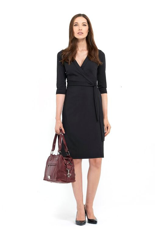 MARIA-ELENA WRAP DRESS  - BLACK ONYX