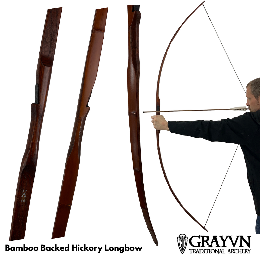 Bamboo Backed Hickory Longbow 72