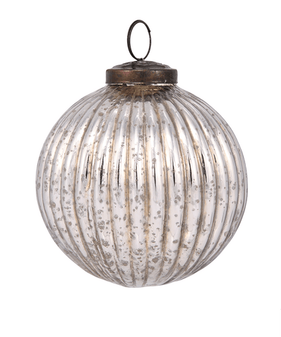 4 in Mercury Silver Bauble / Ribbed