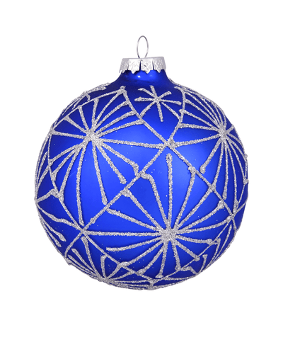 4 in Cobalt Blue Bauble / Silver Frost