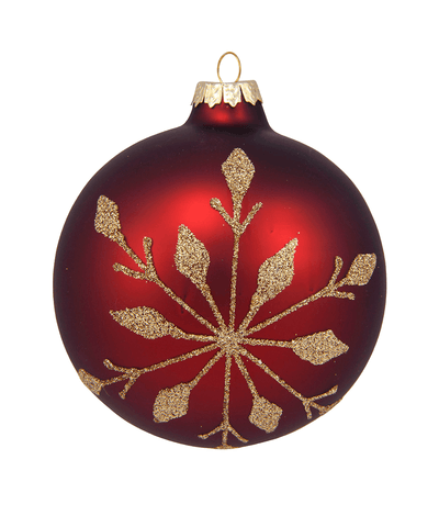 4 in Burgundy Bauble / Gold Snowflake