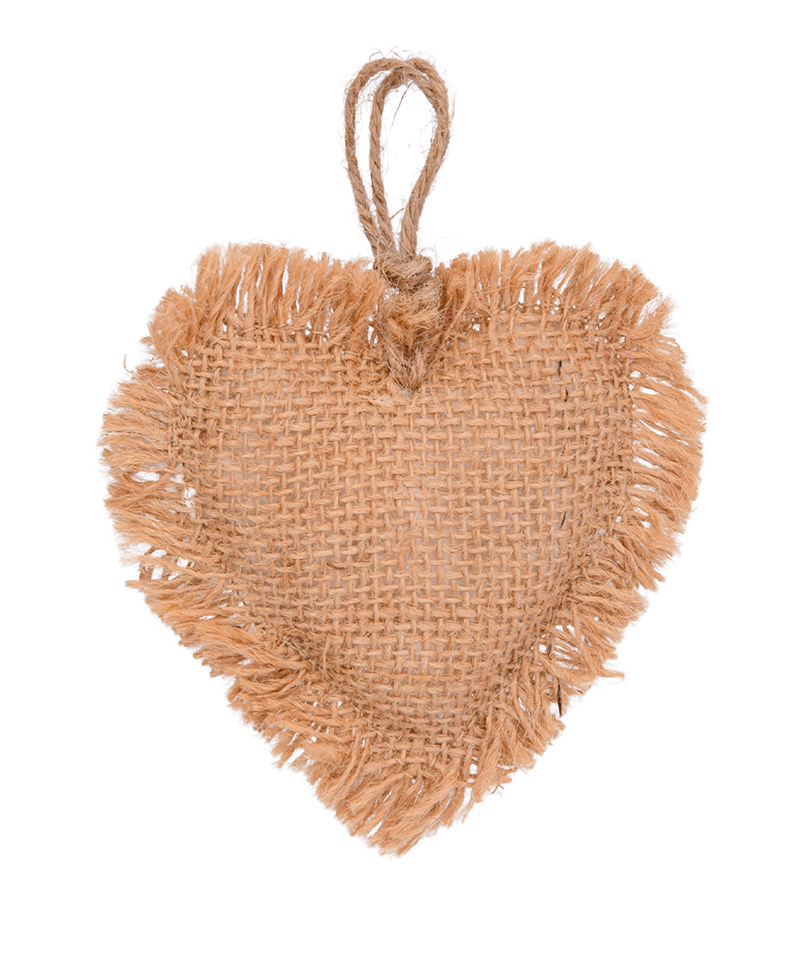 Burlap Heart Christmas Ornament