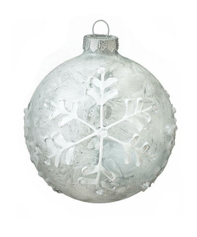 4 in Hand Painted Frosty Bauble