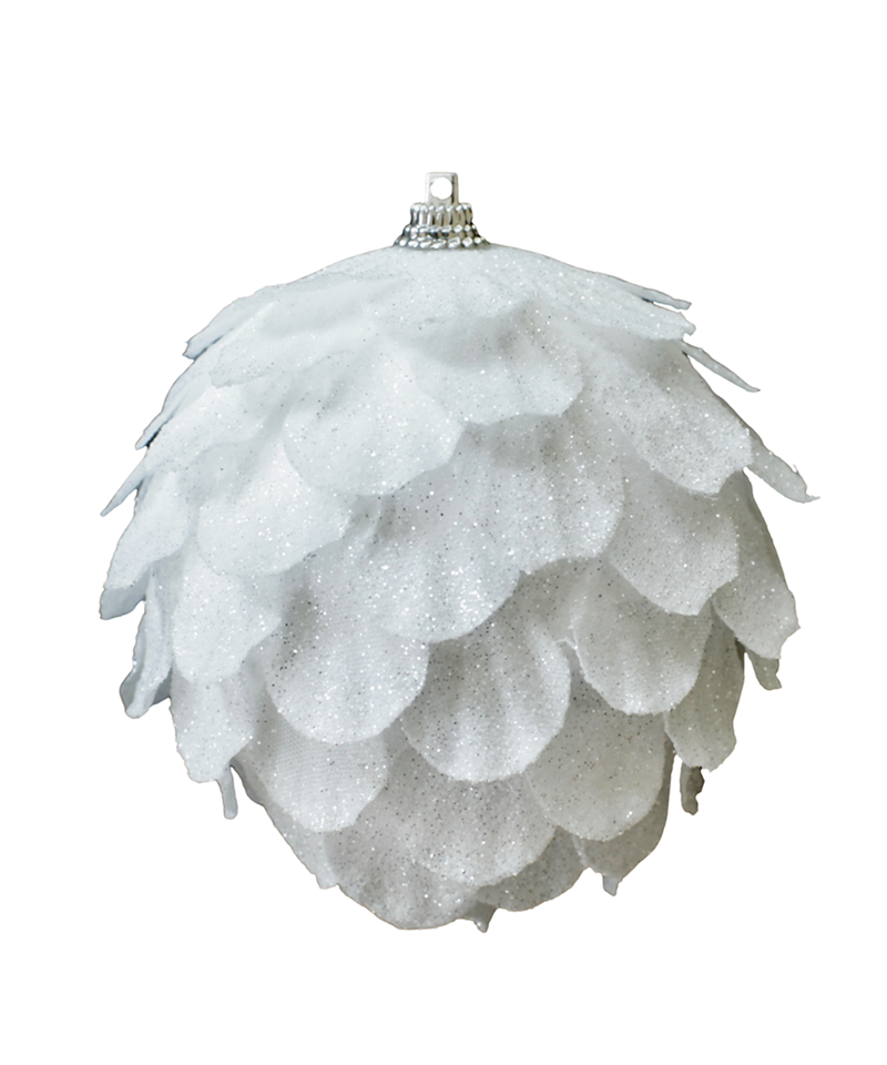 White Sparkly Pine Ornament