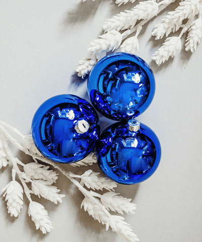 3 in Shiny Blue Polish Bauble