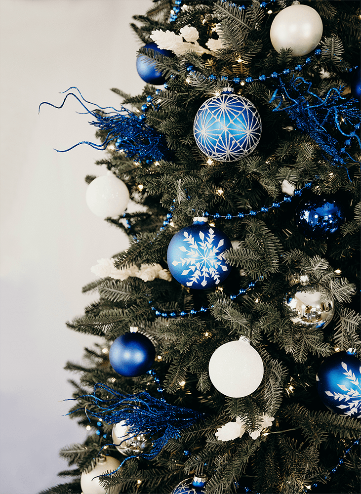Modern blue and white Christmas tree