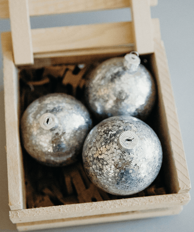 3 in Silver Sequined Bauble
