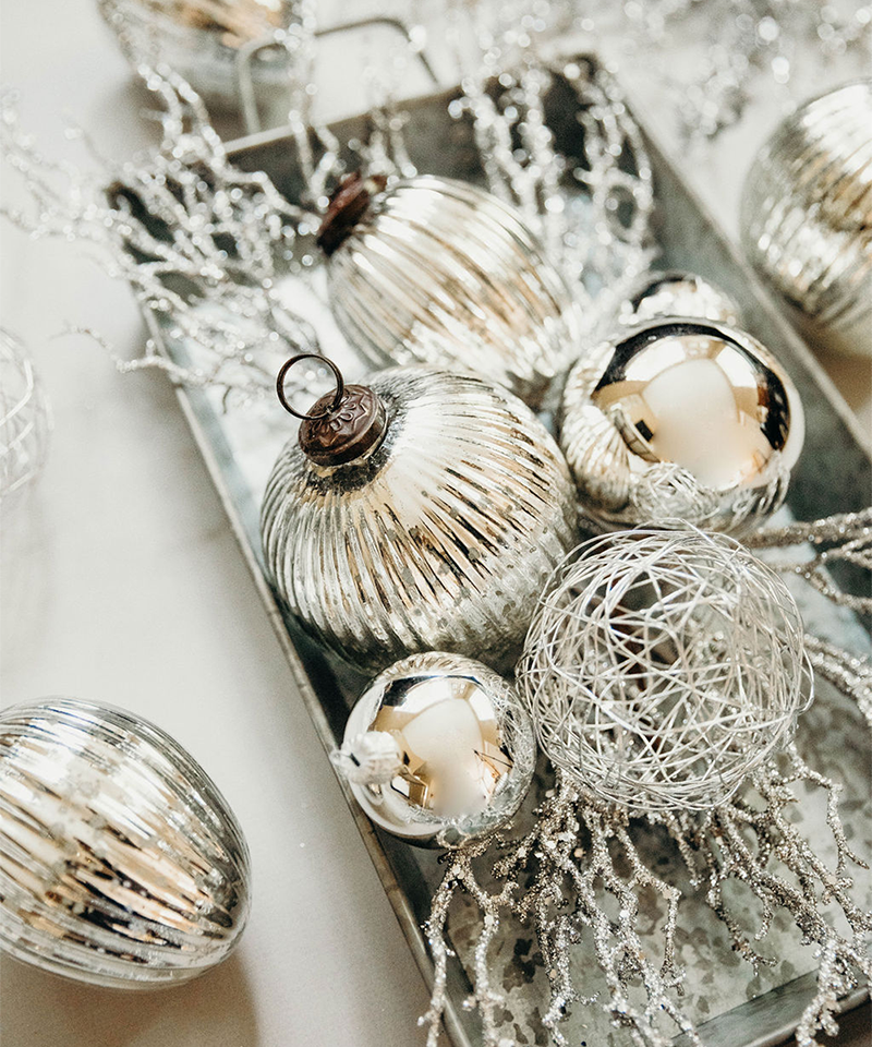 Silver Shiny Ornaments