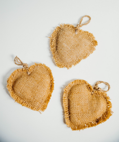 3.5 in Burlap Heart Ornament