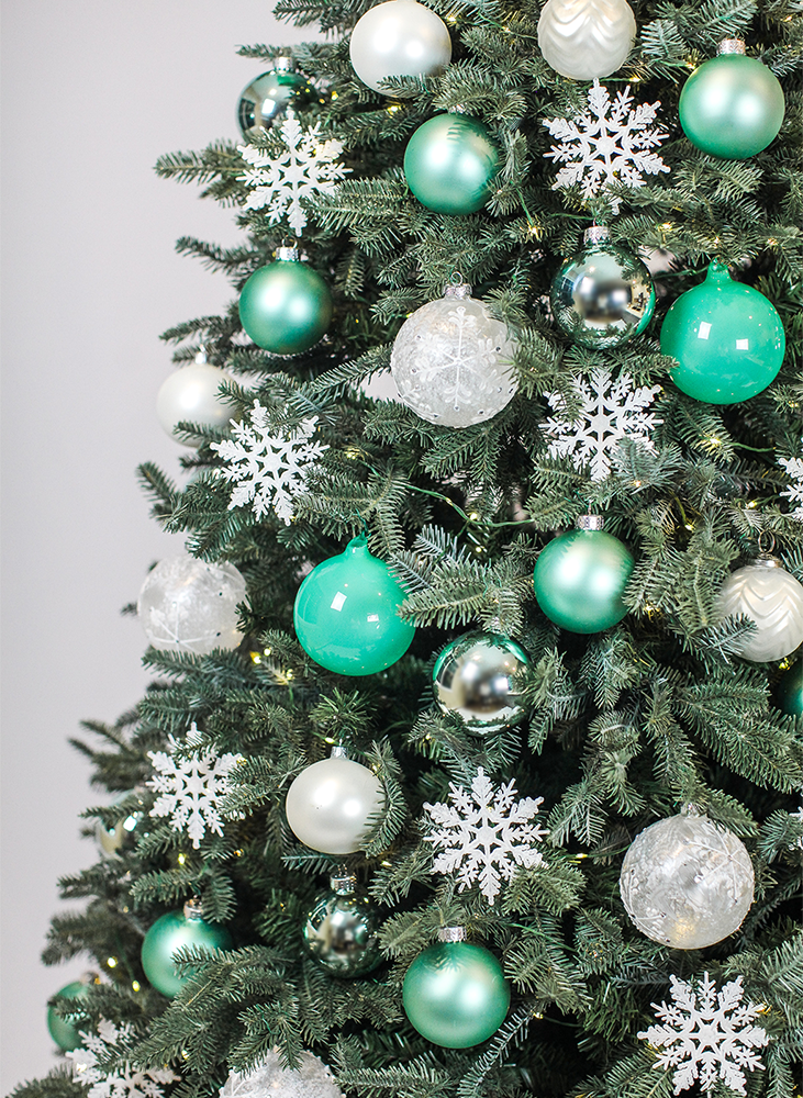 Teal Christmas Tree Ornaments
