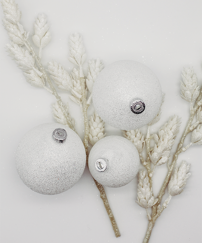 3 in White Glitter Bauble