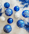 4 in Cobalt Blue Bauble / White Snowflake