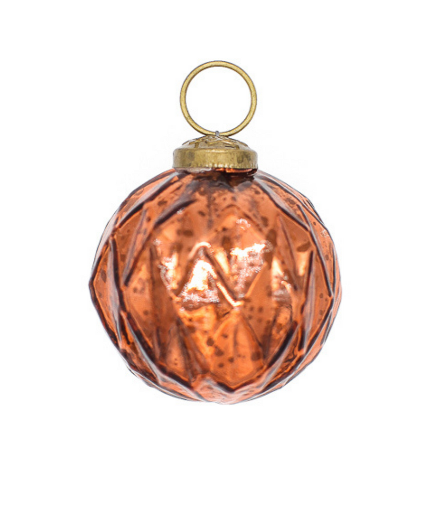 2.5 in Mercury Orange Harlequin Bauble-Special Category-Decorent