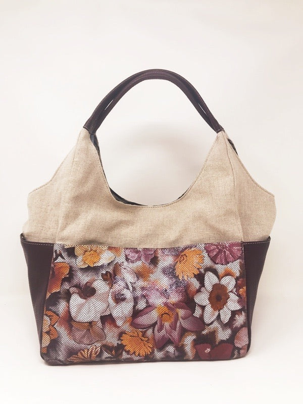 Floral L Bordeaux/Canvas