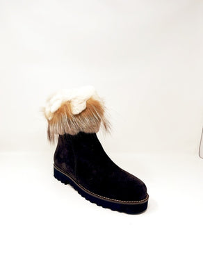 Ruffle Fur Suede Brown