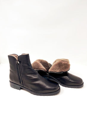 Helen Fur Leather Black