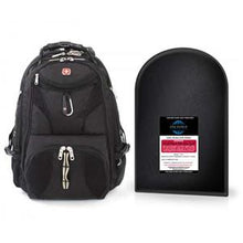 "Load image into Gallery viewer, SWISSGEAR SCANSMART BACKPACK + LEVEL IIIA 12"" X 16"" BULLETPROOF INSERT PACKAGE"