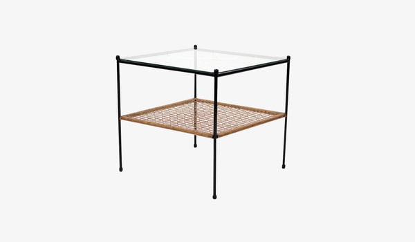 Glass Rattan Side Table From Rohé Noordwolde 1950s