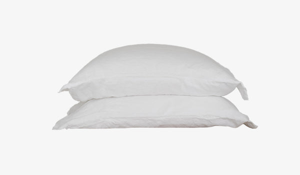 White Linen Pillow Set