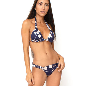 TOP HALTER PANTY LULU  REVERSIBLE BLUE FLOWERS