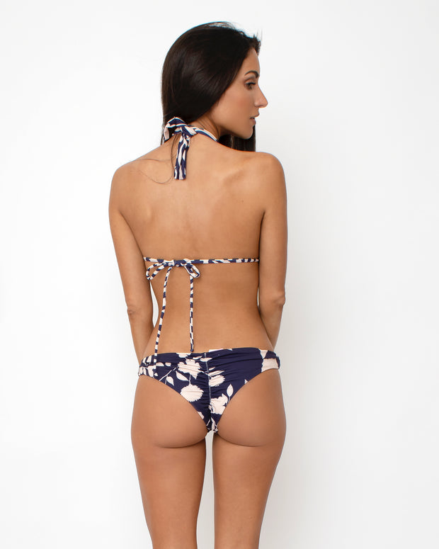 TOP HALTER PANTY LULU  REVERSIBLE BLUE FLOWERS 1