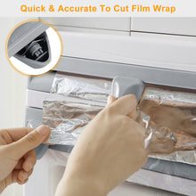 Load image into Gallery viewer, 4 in 1 Paper Towel, Saran Wrap, & Aluminum Foil Dispenser With Spice Tray