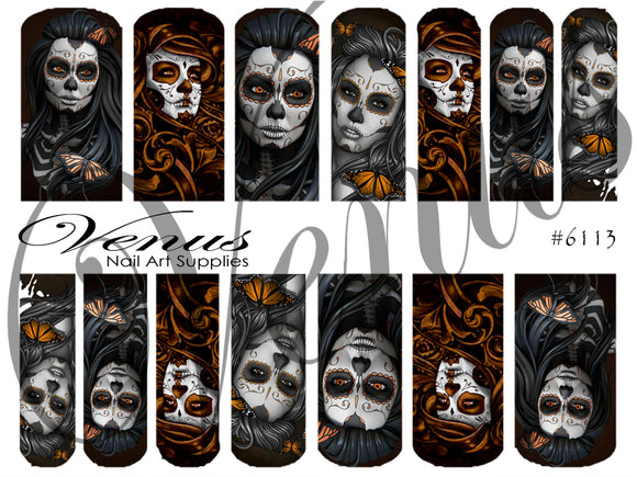 #6113 Sugar Skull Babes (Clear/White)