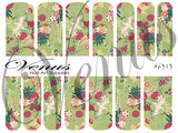 #6313 Japanese Floral - Green (Clear/White)