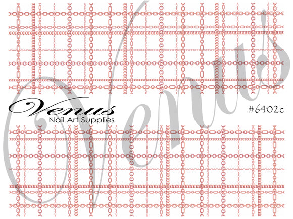 #6406c Chains - Rose Gold Plaid (Clear/White)