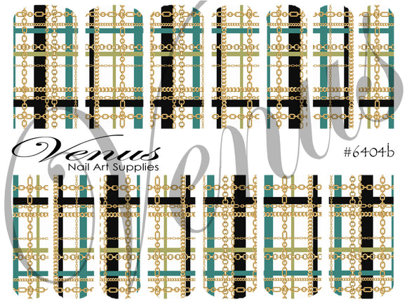 #6404b Plaid Chains - Teal/Gold (Clear/White)