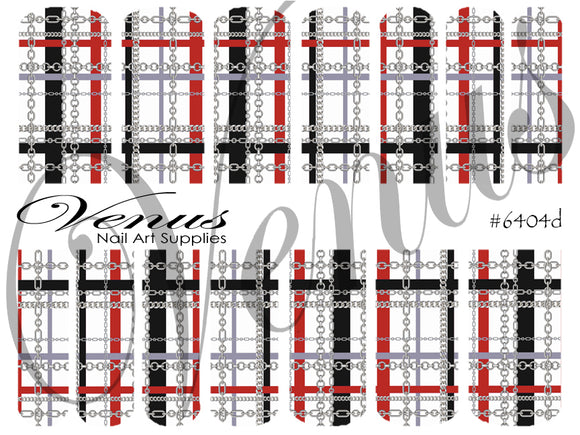 #6404d Plaid Chains - Red/Silver (Clear/White)