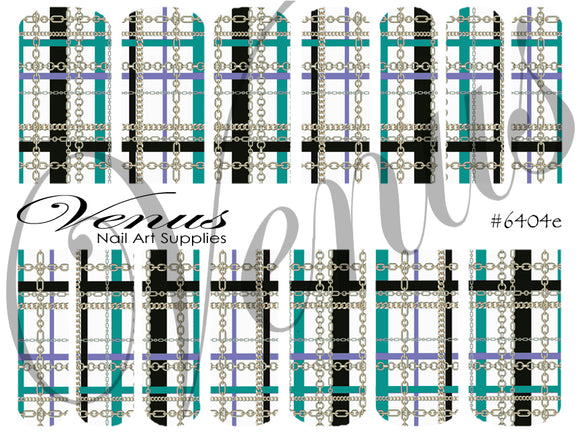 #6404e Plaid Chains - Teal/Silver (Clear/White)