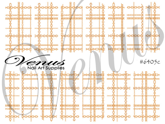 #6405c Chains - Gold Plaid (Clear/White)