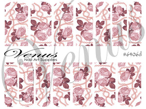 #6406d Chains - Rose Gold Roses (Clear/White)