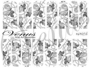 #6407d Chains - Silver Roses (Clear/White)