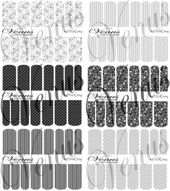 #6702 Grey - SET OF 6 (Clear/White)