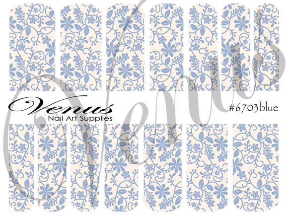 #6703 Floral Lace - Blue (Clear/White)