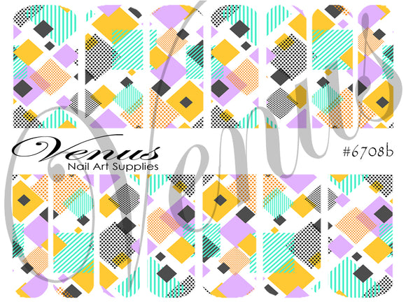 #6708b Geo Squares (Clear/White)