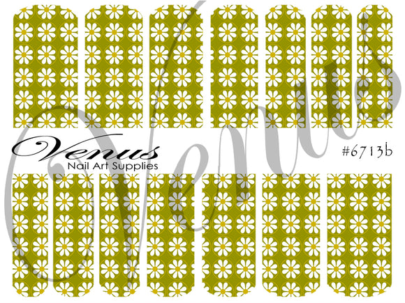 #6713b Floral Fruits - Green Floral (Clear/White)