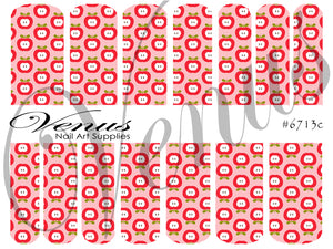 #6713c Floral Fruits - Half Apples Pink (Clear/White)