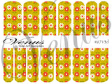 #6713d Floral Fruits - Green/Red Flowers (Clear/White)