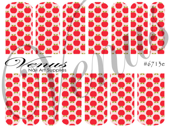 #6713e Floral Fruits - Red Apples (Clear/White)