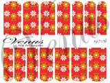 #6713f Floral Fruits - Red/Green Floral (Clear/White)