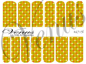#6713l Floral Fruits - Green Dots (Clear/White)