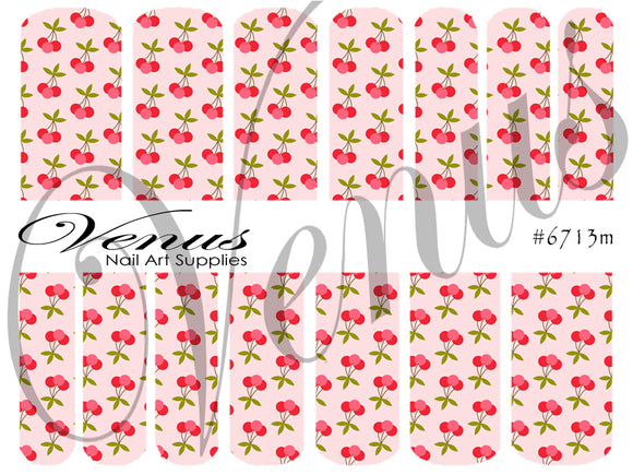 #6713m Floral Fruits - Cherries (Clear/White)