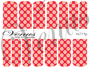 #6713p Floral Fruits - Red/White Daisies (Clear/White)