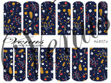 #6807a Autumn Floral - Navy (Clear/White)