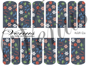 #6812a Vintage Floral - Grey (Clear/White)