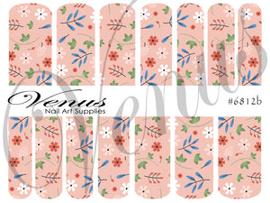 #6812b Vintage Floral - Pink (Clear/White)